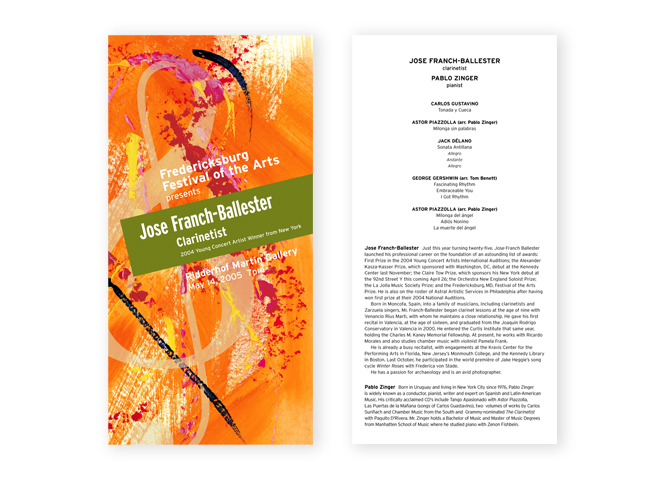 Fredericksburg Festival of the Arts program front and back