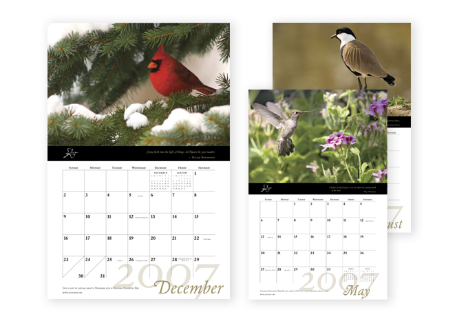 Audubon promotional calendar pages
